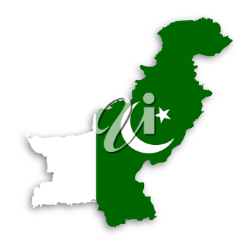 Map of Pakistan with their flag illustration