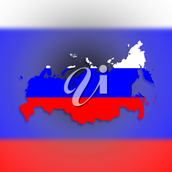 Map of Russia with flag inside, isolated