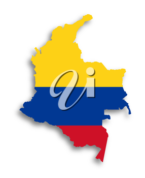 Map of Colombia filled with flag, isolated