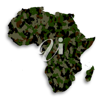 Map of Africa filled with camouflage pattern, isolated