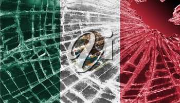 Broken ice or glass with a flag pattern, isolated, Mexico