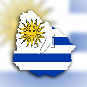 Country shape outlined and filled with the flag, Uruguay