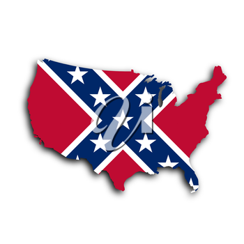 Country shape outlined and filled with the flag, Confederate flag