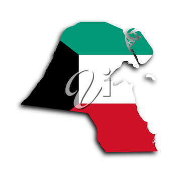 Map of Kuwait filled with the national flag