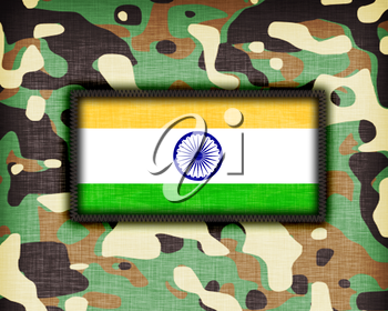 Amy camouflage uniform with flag on it, India