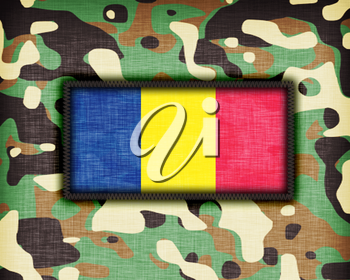 Amy camouflage uniform with flag on it, Romania