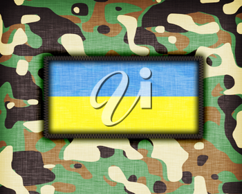Amy camouflage uniform with flag on it, Ukraine