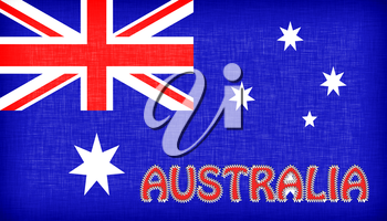 Flag of Australia with letters stiched on it