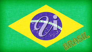 Flag of Brazil with letters stiched on it