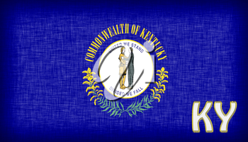 Linen flag of the US state of Kentucky with it's abbreviation stitched on it