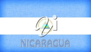 Linen flag of Nicaragua with letters stitched on it
