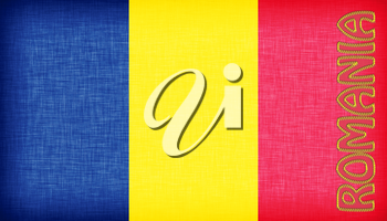 Linen flag of Romania with letters stiched on it