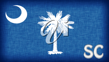 Linen flag of the US state of South Carolina with it's abbreviation stitched on it