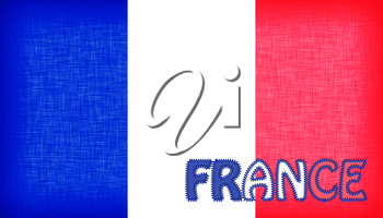 Flag of France with letters stiched on it