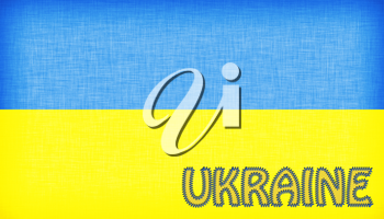 Flag of Ukraine stitched with letters, isolated