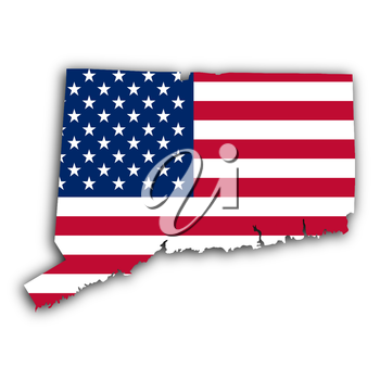 Map of Connecticut, filled with the national flag
