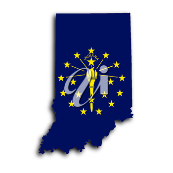 Map of Indiana, filled with the state flag