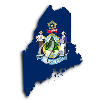 Map of Maine, filled with the state flag