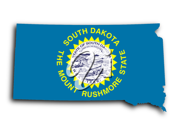 Map of South Dakota, filled with the state flag