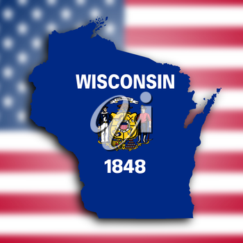 Map of Wisconsin, filled with the state flag
