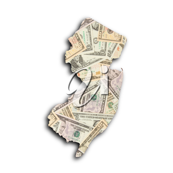 Map of New Jersey filled with US dollars