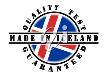 Quality test guaranteed stamp with a national flag inside, Iceland