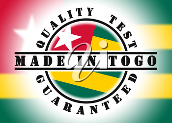 Quality test guaranteed stamp with a national flag inside, Togo