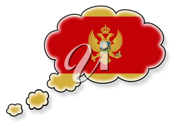 Flag in the cloud, isolated on white background, flag of Montenegro
