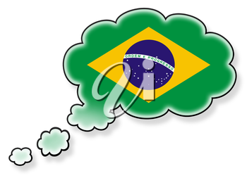 Flag in the cloud, isolated on white background, flag of Brazil