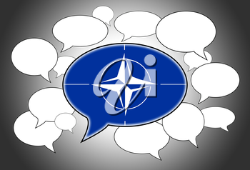 Speech bubbles concept - NATO flag in the front