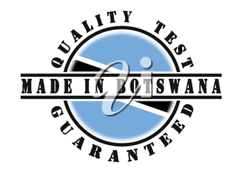 Quality test guaranteed stamp with a national flag inside, Botswana