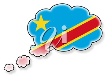 Flag in the cloud, isolated on white background, flag of Congo