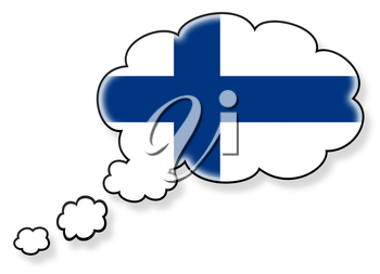 Flag in the cloud, isolated on white background, flag of Finland