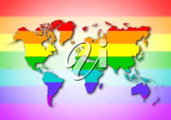 World - Map, filled with a rainbow flag pattern