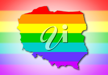 Poland - Map, filled with a rainbow flag pattern