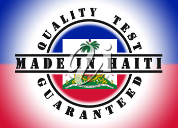 Quality test guaranteed stamp with a national flag inside, Haiti