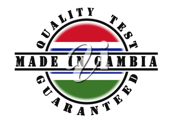 Quality test guaranteed stamp with a national flag inside, Gambia