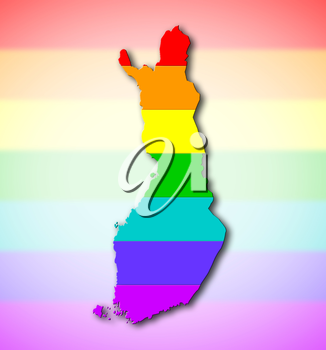 Map, filled with a rainbow flag pattern - Finland