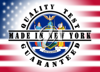 Quality test guaranteed stamp with a state flag inside, New York