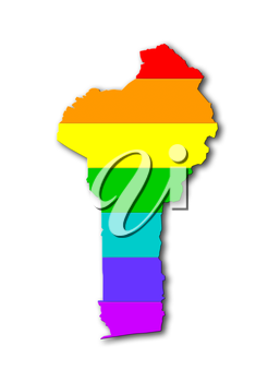 Benin - Map, filled with a rainbow flag pattern