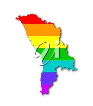 Moldova - Map, filled with a rainbow flag pattern