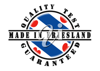 Quality test guaranteed stamp with a national flag inside, Friesland