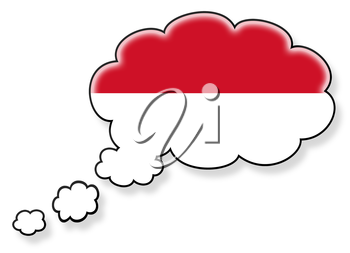 Flag in the cloud, isolated on white background, flag of Indonesia