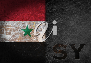 Old rusty metal sign with a flag and country abbreviation - Syria