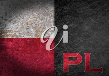 Old rusty metal sign with a flag and country abbreviation - Poland