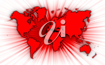 Map of world with starburst on background, red