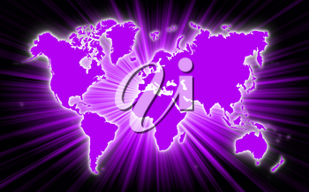 Map of world with starburst on background, purple
