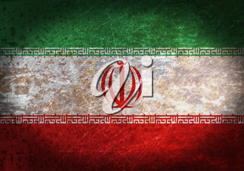 Old rusty metal sign with a flag - Iran