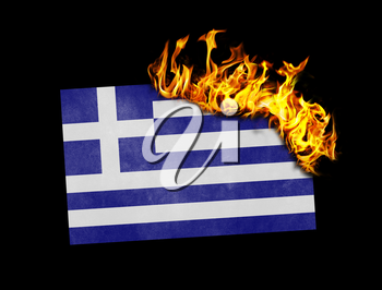 Flag burning - concept of war or crisis - Greece