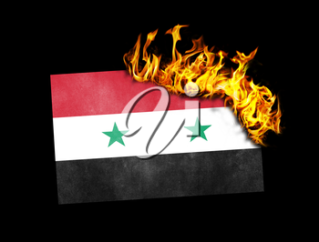 Flag burning - concept of war or crisis - Syria